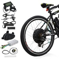 "Voilamart  26"" 48V 1000W Electric Bicycle Conversion Kit Rear Wheel Speed Hub Motor LCD Meter"