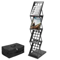 """Voilamart Portable Pop-up Folding Display Magazine Brochure Catalog Literature Holder Rack Stand, 4 Pockets 15""""H x 9""""W, 49"""" Tall, for Tradeshow Showroom Booth Office Retail Store w/Carry Bag"""
