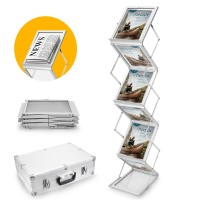 Voilamart A4 Folding Brochure Rack Leaflet Display Stand Double Sided Floor Stand Magazine Rack Trade Show Exhibition with Carry Case (6 Display Sections)